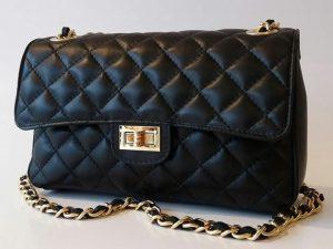 Quiltettaske, lædertaske, taske med kæde, italiensk læder taske, modetaske, fashiontaske
