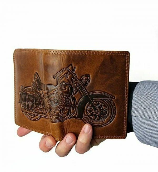 herrepung med harley davidson-motiv, herrepung, herrepung i læder, læderpung til herrer, fars dagsgave, gaven til far, pung til mand