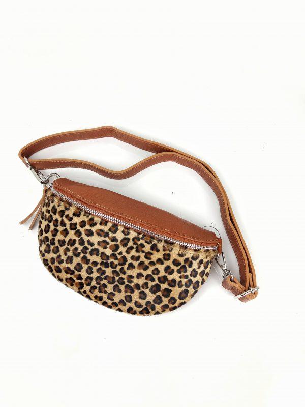 Bumbag i leopard print, bumbag, bæltetaske, bæltetaske i læder, bumbag i læder, leopard print, taske med leopard print