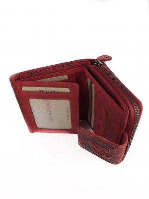 Damepung, pung, lille pung, rød pung, læder pung, mindre pung, møntpung, gaveide, gaven til hende, pung med mønster