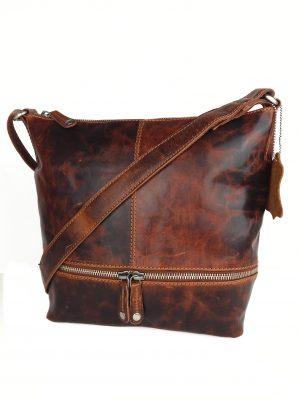 Lækker hverdagstaske i læder, læder taske, lædertaske, taske i italiensk læder, italiensk lædertaske, brun lædertaske, brun læder taske