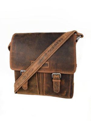 Crossovertaske, crossover taske, Vintage brun taske, lædertaske, unisex taske, brun taske, crossbody, crossbody taske