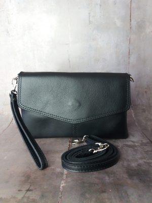 clutch med håndledsrem, crossover, crossbody, læder crossover, lædertaske, made in italy, clutch, læder clutch, clutch taske
