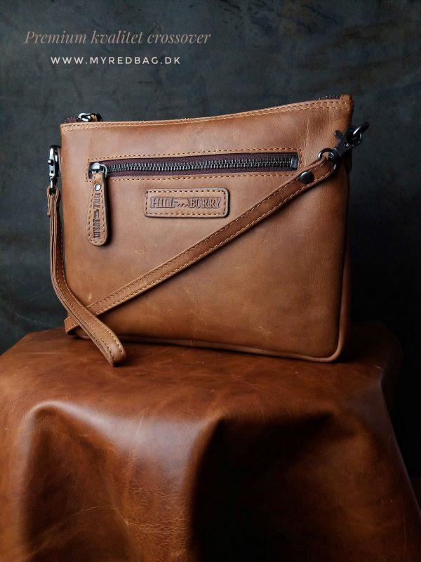 crossovertaske, crossover, crossbody, crossbody taske, clutch, læder clutch, lædertaske, taske i brun