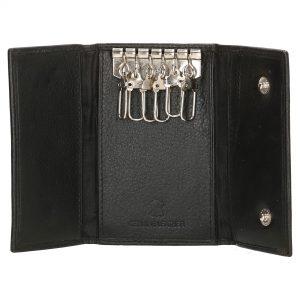 Læder nøglepung, nøglepung i læder, pung til nøgler, 3-fløjet nøglepung