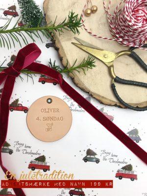 Adventsmærke, adventsmærke med navn, julepynt, adventsgave, jul, juletraditioner