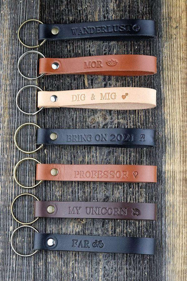 Nøglering i læder, lædernøglering, personlig nøglering, nøglering i læder, gaveide, julegave, personlig gave