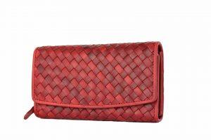 Flettet damepung, damepung i læder, stor damepung, flettet pung, rød pung, læderpung, læder pung