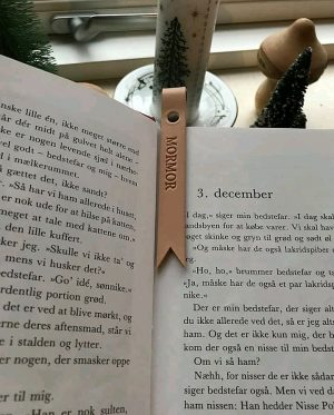 Bogmærke, bogmærke med tekst, personligt bogmærke, gave til bedste, julegaveide, bedsteforældregave, læder bogmærke,