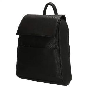 lille rygsæk, rygsæk imiteret skind, hverdagstaske, taske til rejse, håndbagage, kompakt rygsæk, sort rygsæk