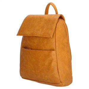 lille rygsæk, rygsæk imiteret skind, hverdagstaske, taske til rejse, håndbagage, kompakt rygsæk, gul rygsæk