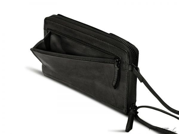 pung og mobiltaske, stor pung, læderpung, mobiltaske, taske til mobiltelefon, clutch taske,skuldertaske, crossbodytaske, lille taske, brun taske,sort taske