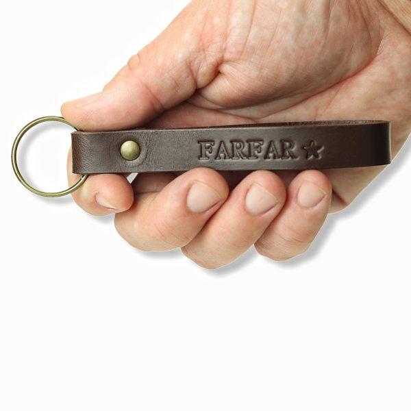 nøglering i læder, nøglering, personlignøglering, nøglering med tekst, læder nøglering