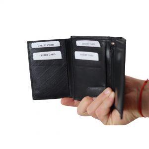 Vertikal læder pung, herrepung i læder, vertikal herrepung, pung med plads til mange kort. læder pung, læderpung