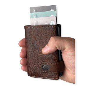 kortholder og pung, hård kortholder, kortholder metal, kortholder skub-op funktion, pung med kortholder, læder pung, læder kortholder