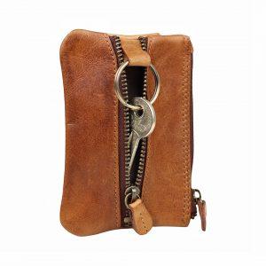 Nøglepung i læder, læder nøglepung, lillepung med nøgleholder