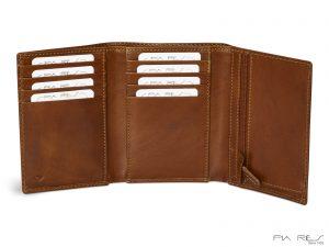 Herrepung læder, læder herrepung, 3-fløj herrepung, tegnebog , læderpung til herre