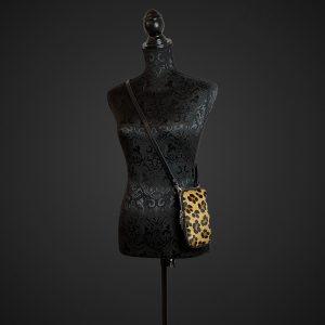 telefon taske, lædertaske, crossover taske, italiensk lædertaske, ægte italiensk lædertaske, leopard print taske, mobiltelefon taske